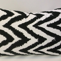 Black and white chevron lumbar pillow cover, abstract modern pillow slipcover
