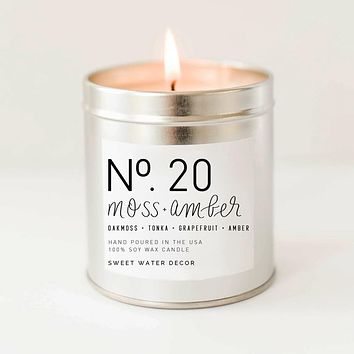 Moss + Amber Soy Candle | Silver Tin Candle