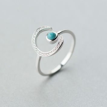925 Silver Moon Synthetic Blue Turquoise Opening Ring J2666  171204