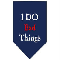 I Do Bad Things  Screen Print Bandana Navy Blue Large