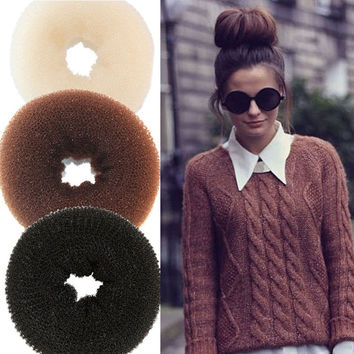 1PC DIY Pure Knitted Hair Bun Hair Donut Make Your Hair More Stylish Hair Accessories 4 Sizes 3 Styles Available