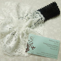 Black Sequin headband with White lace flower for children, baby, hair accessories by MarlenesAttic