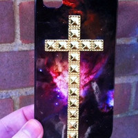 Space Galaxy Print Gold Dotted Cross Studded iPhone 4 4S Phone Case
