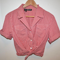 Vintage Red and White Vertical Striped Button Down Collared Short Sleeve Crop Top/Tie Up Blouse/Shirt - Size 12