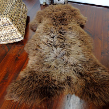 Wonderful Genuine Natural Soft Wool Sheepskin Rug - Brown / Rusty / Latte / Beige Mix - egSN 26