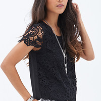 FOREVER 21 Crocheted Woven Top