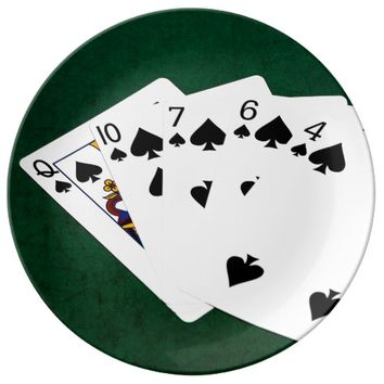 Poker Hands - Flush - Spades Suit Plate