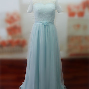 Real Photos Bateau Half Sleeves Women's Dress Floor Length Evening Dress with Pearls and Bow Sash Custom Made Prom Dress