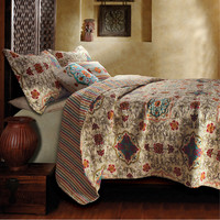 Full / Queen 5 Piece Oversized Cotton Quilt Set with Bohemian Motifs
