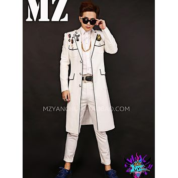The latest Korean Singer combination white black side medal long suit costumes Team suit for Singers dancers stage long coat !