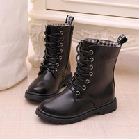 Boys/Girls Lace-up Martin Boots 2018 autumn winter waterproof knight single boots warm Older children snow boots Kids sneakers