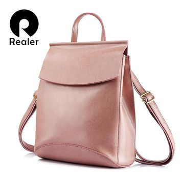 Women Shoulder Bag Female Multi Functional High Quality Cow Split Leather Backpack For Teenage Girls