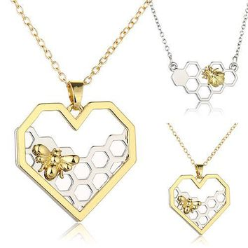 Fashion Necklace Heart Honeycomb