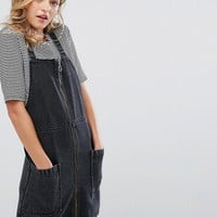 Monki Acid Wash Denim Overall Dress at asos.com