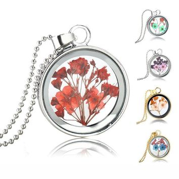 Small Dried Flower Glass Necklace