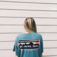 Comfort Colors T-Shirt Patagonia Inspired Missions Trip Ice Blue Galatians 5:13 **PREORDER 6/11/16**