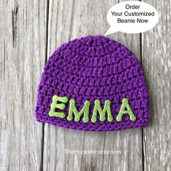 Crochet Baby Personalized Name Beanie Cap - Newborn to 24 months - Purple - MADE TO ORDER - Personalized Baby Hat - All Cotton Beanie