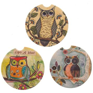 Owl Stone Car Coasters Set 3 CounterArt Absorbent Wise Watchful Friend Hoot