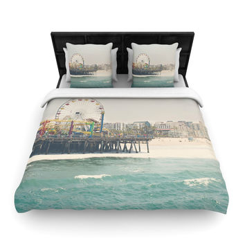 "Laura Evans ""The Pier at Santa Monica"" Coastal Teal Woven Duvet Cover"