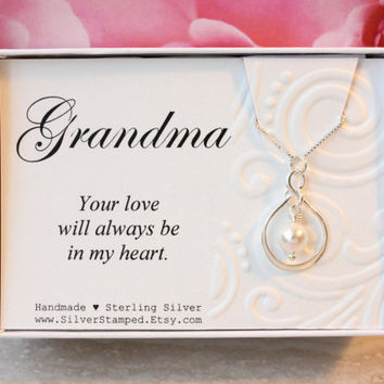 Gift for Grandma gift sterling silver infinity necklace with Swarovski pearl, birthday gift for grandmother from granddaughter or grandson