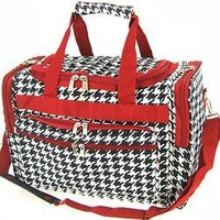 Houndstooth Red Trim Duffle Carrying Bag - 16 in