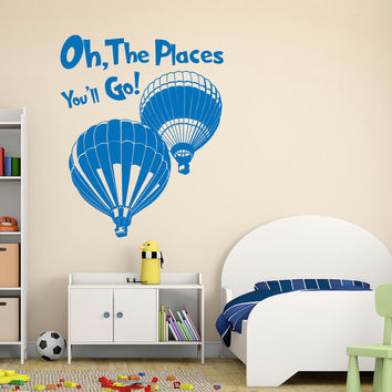 Oh The Places You'll Go Quote Dr Seuss Wall Decal Vinyl Stickers Nursery Bedroom Kids Room Playroom Crib Bedding Wall Art Home Decor Q177