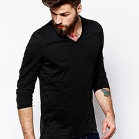 ASOS Long Sleeve T-Shirt With V Neck And Stepped Hem