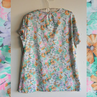 Light weight Floral Vintage Blouse Short Sleeve Floral Shirt