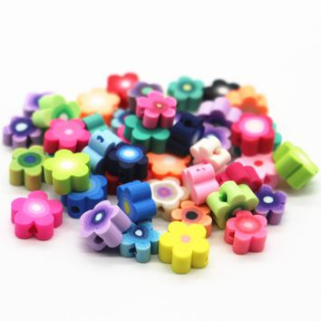 6-8mm 300Pcs Assorted Colors Plum Blossom Polymer Clay Fimo Flower Beads Diy Craft Slice Beads