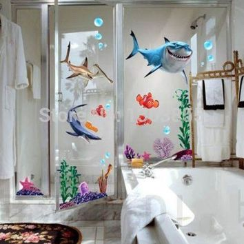 FINDING NEMO Fish Seabed General Mobilization Cartoon Nemo Bathing Wall Stickers Decor Removable Vinyl Nursery Kids Room asd