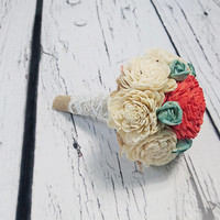 SMALL ivory mint Coral reef rustic beach summer wedding BOUQUET sola Flowers Burlap lace Bridesmaid toss flower girl roses vintage custom