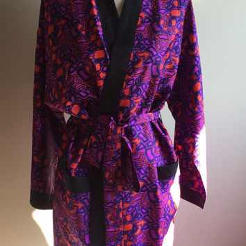 Vintage 80s Thai Silk Robe Size L/XL Retro Multi Colored Coat Red Purple Black Trim Abstract Mod 60s Luxury MadMen Smoking Jacket
