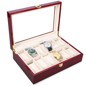 High Quality 12 Slots Elegant Wood Watch Display Case Watches Box Glass Top Jewelry Storage Organizer caixa para relogio