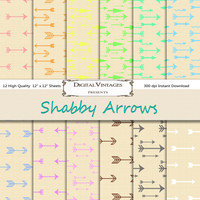 Arrow digital paper, shabby digital paper, linen digital paper, arrows digital paper, digital shabby chic, instant download, shabby arrow