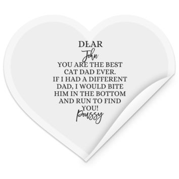 Funny Personalized Cat Dad Heart Sticker