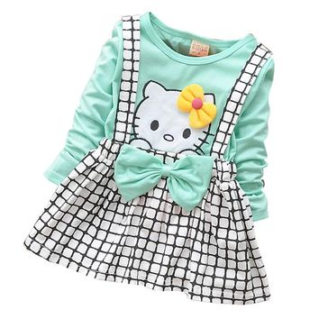 Spring Summer KT Cat Baby Girl Dress Long Sleeve 1 Year Baby Birthday Dress