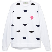 Stella McCartney Lip Motif Sweatshirt - White Sweatshirt - ShopBAZAAR