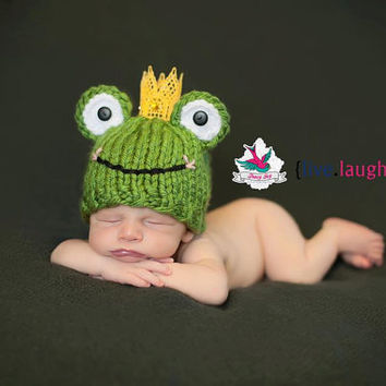 Frog Prince Hat newborn baby boy fairy tale infant photography prop