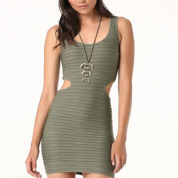 bebe Womens Side Cutout Tank Dress Dusty Olive