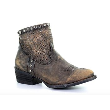 Circle G by Corral Black Cut Out & Studs Ankle Boot