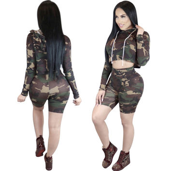 Camo Hooded Long Sleeve Two Piece Sportswear