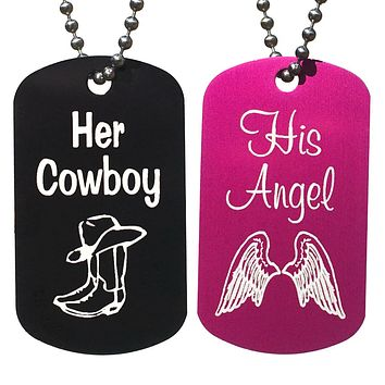 Her Cowboy & His Angel Dog Tag Necklaces (Pair)