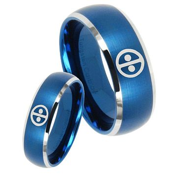 His Her Satin Blue Dome Dead Pool Two Tone Tungsten Wedding Rings Set