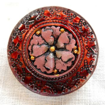 One Czech glass pink and orange stylized, embellished flower decorative shank button, 22mm, C06201