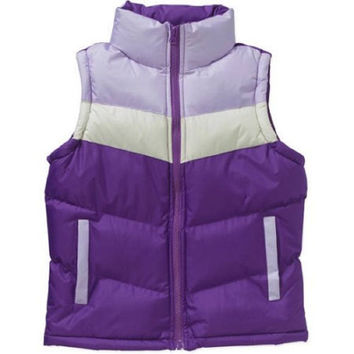Climate Concepts Girls' Color Blocked Puffer Vest, Purple/White, XL 14/16
