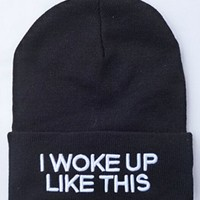 Winter Warm Beanies I WOKE UP LIKE THIS Adult Elastic Knitted Cap