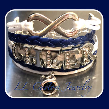 5 strand Infinity Cheer Rhinetone letters, w/ Megaphone Charm Multistrand Bracelet - or Customize Dance, Sport Mom, Music, sports