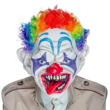 H&D Horror Clown Mask with Colorful Hair Scary Clown Mask for Adults Kids Halloween Costume Props