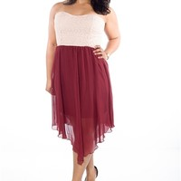Serene Style Plus Size Chiffon Dress - Burgundy from January 7 at Lucky 21