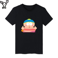 BTS Cartoon Sitcoms South Park Cotton T-shirt Men Slim Fit Short Sleeve TShirts T Shirt Men Luxury Plus Size Tee Shirt